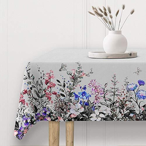 Viste tu hogar Mantel Impermeable Resinado, Mantel para Mesa 140x250 CM, Ancho y Resistente, Ideal para la Decoración de Mesa y Fechas Especiales, Diseño Floral