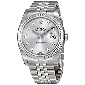 Rolex Datejust Rhodium Diamond Dial 18kt White Gold Fluted Mens Watch 116234RDJ image