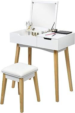 Costway Coiffeuse, Table de Maquillage avec 1 Miroir Carré Rabattable,1 Tabouret Capitonné,1 Tiroir et 1 Compartiment de Rang