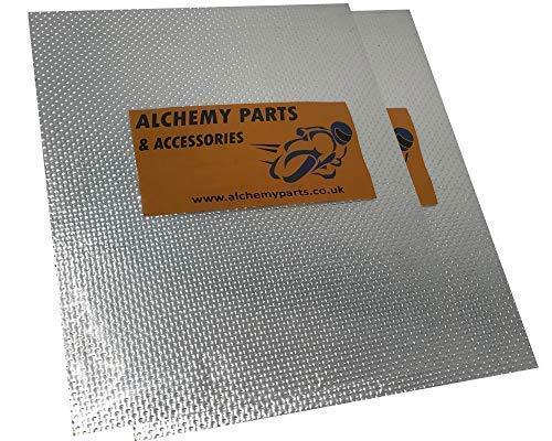 2 X Selbstklebend Auspuff Motor Hitzeschutz Blatt 40 x 33cm Ideal für Motorrad Auto - Aluminium & Reflektierend