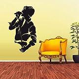 xingbuxin Tatuajes de Pared Micrófono Hombre Vinilo Pegatina de Pared Cantar Canción Música Cartel Arte Mural Extraíble Studio Window Logo Decoración 1 57x94cm