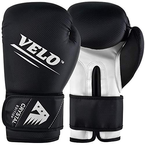 VELO Boxhandschuhe aus Kristallleder, Muay Thai, Training, Sparring, Boxsack, Kickboxen, Kampfhandschuh für Boxsack, Fokus-Pad, Arm-Kick-Pad, 284 g, weiß-schwarz
