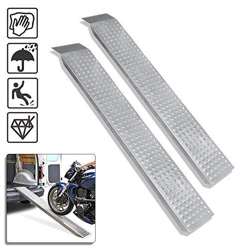 Froadp Antirutsch Auffahrrampe Verzinkt Stahl Laderampe Rampe 160x22,5x4,5cm Silber Auffahrschiene Verladerampen für Auto Motorrad ATV PKW Max. Belastbarkeit 400KG pro Paar