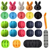 3M Cable Clips Organizer Adhesive, Colorful Cord Charger Holder Cute Animal Desktop Multipurpose Cable Clips Cable Drop for Home Office Cubicle Car Nightstand Wall Wood TV PC Desk Accessories 25 Pack