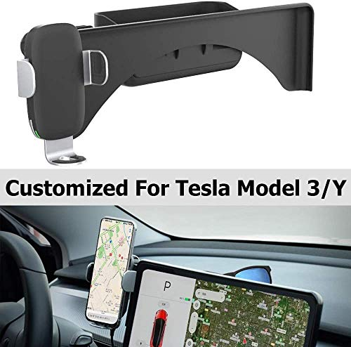 """WJM Tesla Model 3 Model Y Wireless Charger Car Mount Wireless Charging Cell Phone Holder Compatible with All Smart Phones up to 6.5"""""""