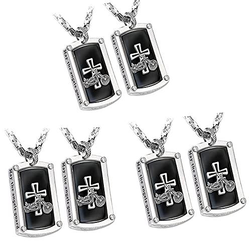 nnko Bikers Blessing Engraved Pendant Necklace, Faith Necklace, Stainless Steel Punk Hip Hop Motorcycle Cross Necklace, Dog Tags Prayer Cross Pendant (6PCS)