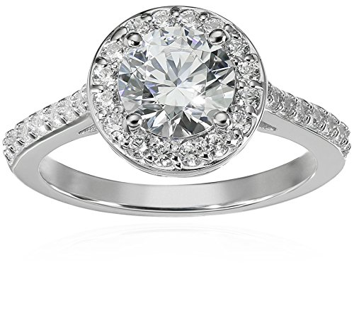 Amazon Collection Platinum-Plated Sterling Silver Round-Cut Halo Ring made with Swarovski Zirconia, Size 7