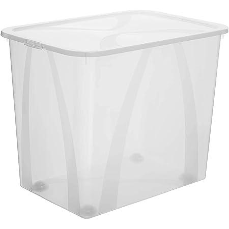 Rotho Arco Boîte de Rangement 70L avec Couvercle et Roulettes, Plastique (PP) sans BPA, Transparent, 70L (57,1 x 39,2 x 46,5 cm)