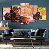 ZKSB 5 Canvas Paintings Video Game Borderlands 3 Art Collection Art Painting Children's Room Bathroom Decoration 5 Pictures 200X100Cm Frameless Painting