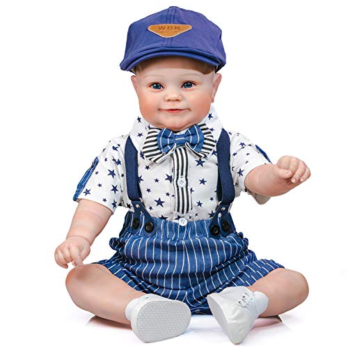 24 Inch Realistic Toddler Reborn Dolls Boy Fat Cute Face Hand Painted Hair Soft Touch Cuddly Silicone Weighted Doll Real Looking Toddler Dolls for Children Gift