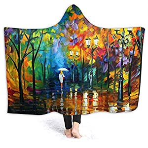 Asevwevse Beautiful Watercolor Sea Boat Scenery Hooded Blanket Soft Throw Blanket Baby Hooded Blanket Wearable Blanket Wrap Poncho Blanket for Kids Adults Women Men for Bed Couch Sofa