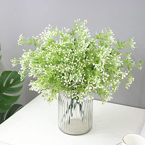 MZMing 6 ramos de flores artificiales realistas, de plástico, arbustos y arbustos de vegetación, arreglo floral para interiores y exteriores, hogar, oficina, jardín, decoración de mesa de boda