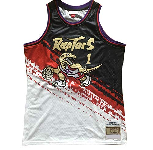 Jerseys de Baloncesto para Hombres, Toronto Raptors Tracy McGrady # 1 Mesh Basketball Swingman Jersey, Transpirable