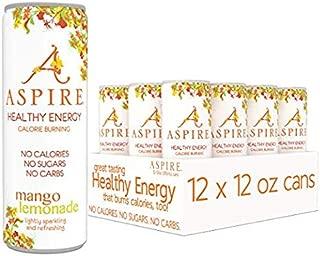ASPIRE Healthy Energy, Calorie Burning, Zero Calorie, Zero Sugar Drink Mango Lemonade 12-Pack