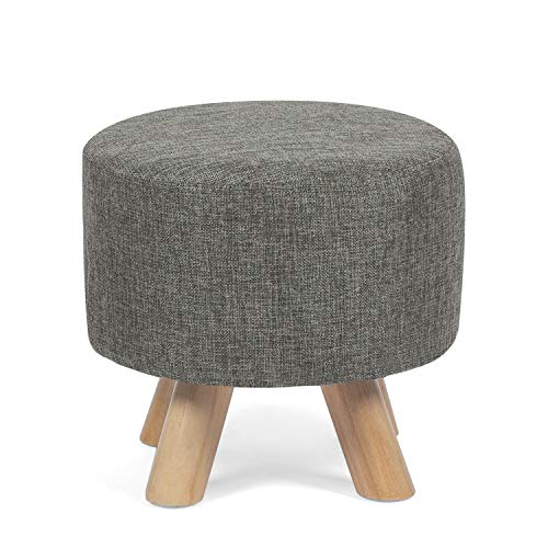 Edeco Modern Round Ottoman Foot Rest Stool/Seat Pouf Ottoman with Linen Fabric and Non-Skid Wooden Legs (Grey)