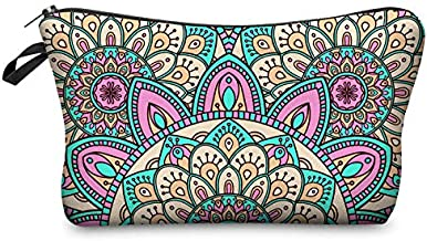 AYWFEY 5 Set Cosmetic Bags for Women, Makeup Pouches Bulk, Waterproof Travel Toiletry Organizer Zipper Pencil Pouch with Mandala Flower Patterns