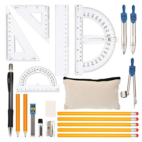 CYH Geometrie Set, 21 Stück Schulset Kompass Zirkel Set, Schulmathe-Satz mit Lineal, Kompass-Mathe, Quadrat-Satz, Winkelmesser, Drehbleistift, Spitzer,Radiergummi,Mine, Bleistifte und Bleistiftbeutel