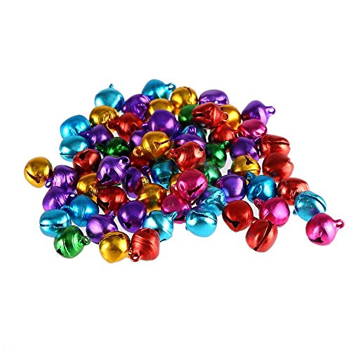 50pcs 10mm Colorful Bells Christmas Copper Made Fashion Jingle Bell/Mini Bell for DIY Bracelet Anklets Necklace Knitting/Jewelry Making Accessories (Random Color) (10mm)