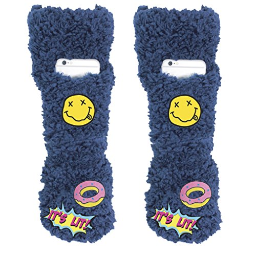 Women's Slipper Sock Cell Phone Pocket Non-Slip Lavender Infused Fuzzy It's Lit Patches Small/Medium Navy By MinxNY