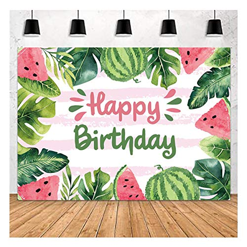 Summer Watermelon Theme Photography Backdrops 7X5FT Kids Girl or Boys One in a Melon Happy Birthday Party Photo Background Dessert Cake Table Decoration Supplies Vinyl