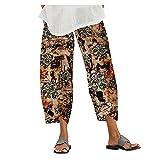 Pantalones de verano para mujer, ligeros, de pierna ancha, de algodón, con estampado, holgados, anchos, con cintura elástica, pantalones de yoga, harén, pantalones de playa, pantalones estampados.