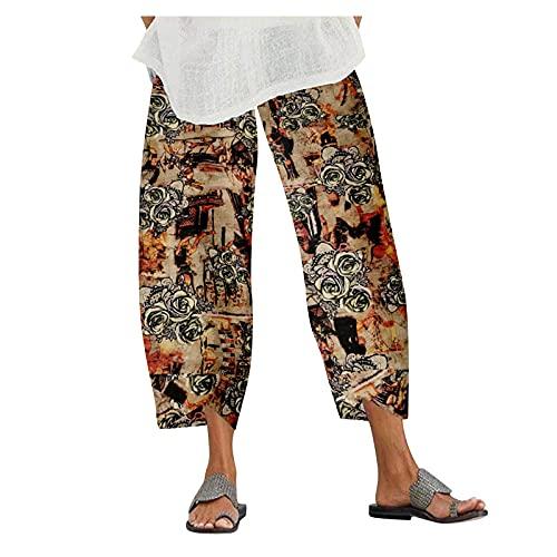 CUTUDE Pantalones de cintura elástica de las mujeres pantalones harem pierna ancha algodón lino yoga pantalones señoras moda casual impreso flojo polainas estiramiento fondos