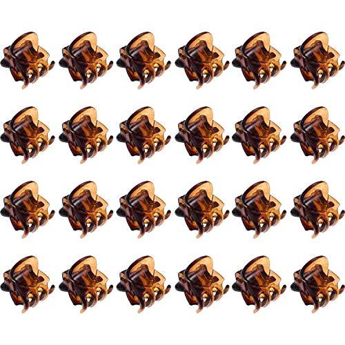 Rmeet Haarklammern Mini,24er Pack Damen Haargreifer Kleine Haarspangen Kunststoff Orchidee Clips Pflanzenclips Pins Schellen für Mädchen Frauen 1.5 cm Schwarz