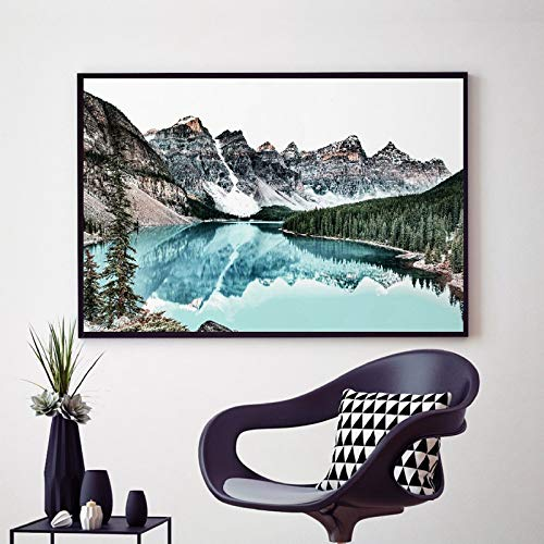 Berglandschaft drucken blaugrün Wandkunst Leinwand Malerei Poster Wasserreflexion Natur Wandbild Home Decor
