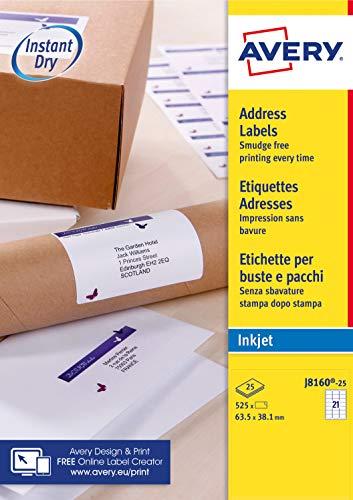 Avery Self Adhesive Address Mailing Labels, Inkjet Printers, 21 Labels per...