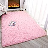 Foxmas Ultra Soft Fluffy Area Rugs for Bedroom Kids Room Plush Shaggy Nursery Rug Furry Throw Carpets for Boys Girls, College Dorm Fuzzy Rugs Living Room Home Decorate Rug, 4ft x 6ft, Pink