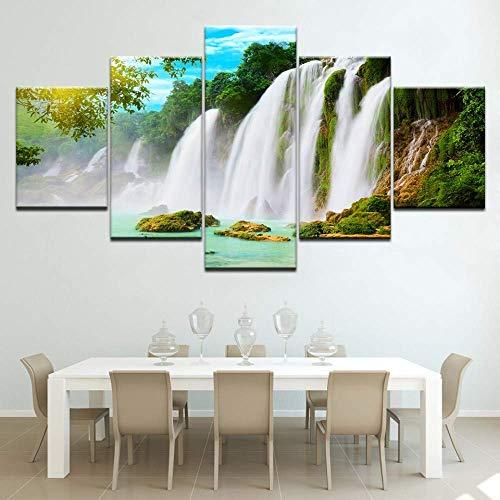 SLSMD-ART fotobehang 5 stuks canvasdruk waterval landschap woonkamer muurkunst decoratie afbeelding, 100x55cm Eén maat 30 x 40 cm x 2 30 x 60 cm x 2 30 x 80 cm x 1.