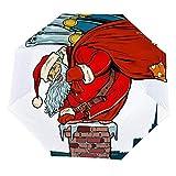 Paraguas Plegable de Papá Noel con champán Sube la Chimenea Paraguas Abierto, Resistente al Viento, Ligero y Compacto, al Aire Libre, Sol y Lluvia
