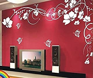 Amaonms New Style Removable White Vinyl Flowers Flower Vines Butterfly Wall Sticker Mural Decal Art for Room Tv Background Wall Corner Decorations (Left)