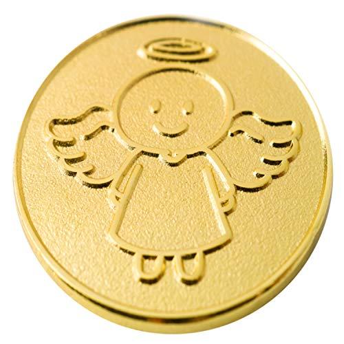 EnerChrom Schutzengel Smiling Paul - Münze 1 Stück - 2,3cm Gold - Metall Einkaufschip Engel Glücksbringer - no Plastic