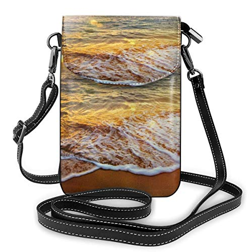 Hermosa playa moda pequeño teléfono celular monedero multiusos bolso de hombro cartera