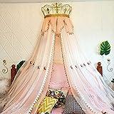 DAGUAI Princesa Corona Cama Cortina niña niños habitación decoración de Noche Hilado de cabecera Red romántica Princesa Cama con Dosel de cálcieras Princesa Cortinas for niñas pequeñas habitación