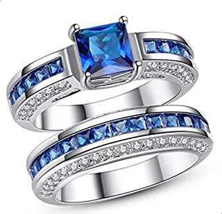 Women's Ring Two pieces silver inlaid with blue zircon size 9