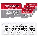 Gigastone Lot de 5 Carte Micro SD HC 32 Go U1 Classe 10 avec Adaptateur SD. Vitesse de Lecture allant jusqu'à 90 Mo/s. Compatible avec Nintendo Dashcam GoPro Caméra Samsung Canon Nikon DJI Drone