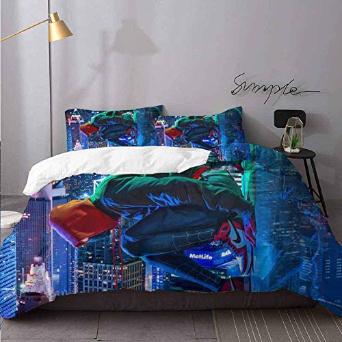Comforter Cover Miles Morales Spiderman Cosplay Xx Simple Style Bedding Set Bedding 3 Piece Duvet...