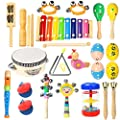 Ehome Toddler Musical Instruments, Wooden Percussion Instruments Educational Preschool Toy for Kids Baby Instrument Musical Toys Set for Boys and Girls with Storage Bag from Shenzhen Yi Shi Jia He Technology Co., Ltd.