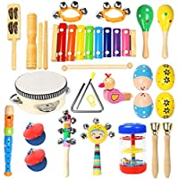Ehome 15 Types 22-Pieces Wooden Percussion Instruments Toy