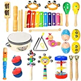 Toddler Musical Instruments Ehome 15 Types 22pcs Wooden Percussion Instruments Toy for Kids...