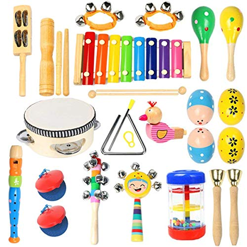 Ehome Toddler Musical Instruments 15 Types 22pcs Wooden Percussion Instruments Toy for Kids Preschool Educational, Musical Toys Set for Boys and Girls with Storage Bag