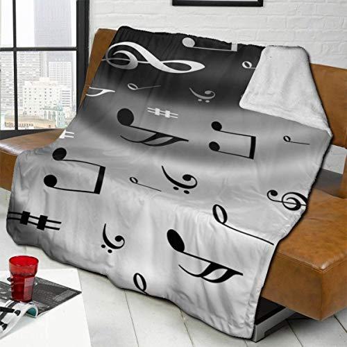 TGUBJGV Throw Blankets - Sheet Music Reversible Sherpa Flannel Blanket Soft Fuzzy Plush Fleece Microfiber Blankets for Couch Bed Sofa