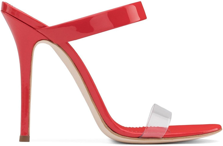 Transparent Sandals Women High Heels PU Peep Toe Pumps Satin Bridal Party Court shoes Stiletto Heel,EU38-46,Red,EU41