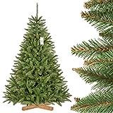 FairyTrees Sapin Arbre de Noêl Artificiel EPICÉA Naturel, Tronc Vert, Matière PVC, Socle en Bois, 180cm