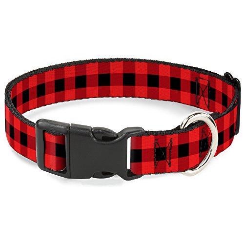 Buckle Down pc-w30230-l Buffalo Plaid Negro/Rojo Clip de plástico Cuello, grande/15–26'