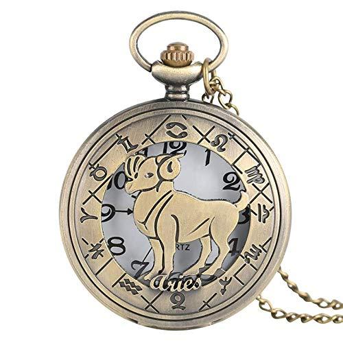 J-Love Aries Design Reloj de Bolsillo de Cuarzo Doce Constelaciones Collar con Colgante de Bronce Cadena Casual Hombres Mujeres