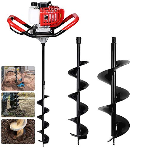 """Pumplus Gas Powered 52CC Post Hole Digger for Fence and Planting with Extention and 6"""" & 10"""" Earth Auger Drill Bits"""