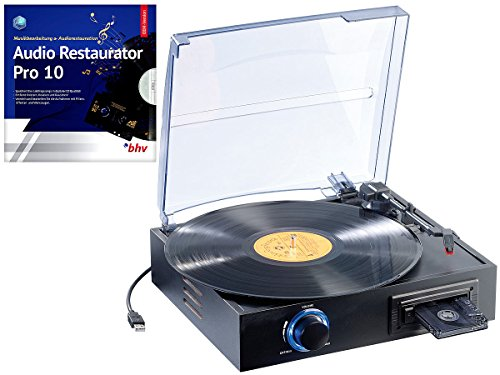 Q-Sonic Plattenspieler USB: USB-Platten- & Kassetten-Spieler UPM-700 + Audio Restaurator 10 (Platten digitalisieren)